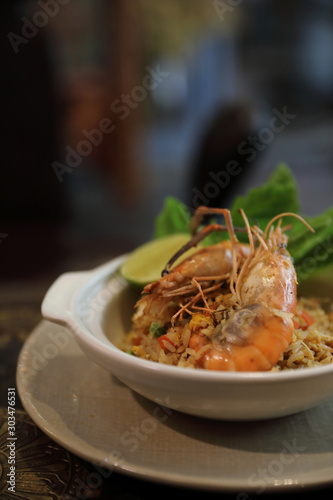 Fried rice with shrimp , Traditional Thai food Wallpaper Mural