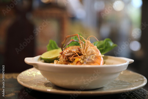 Fried rice with shrimp , Traditional Thai food Canvas Print