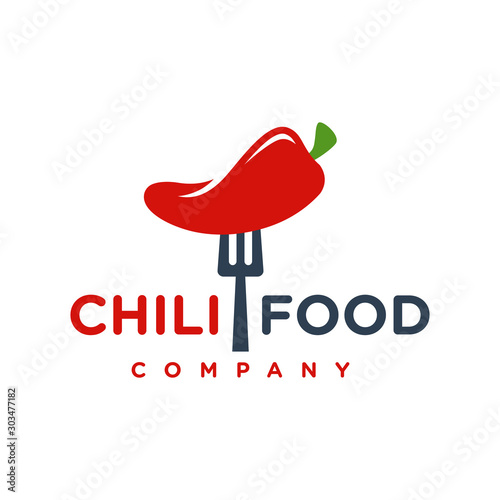 red chilli food logo design your company Canvas Print