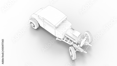 Fotografie, Obraz 3d rendering of a hot rod isolated in a colored studio background