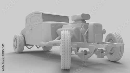 Obraz na plátně 3d rendering of a hot rod isolated in a colored studio background
