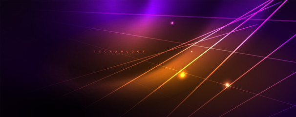 Color light with lines, outer space background, bright rays
