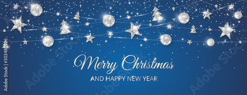 Merry Christmas banner with sparkling silver decoration on black background - 303480926
