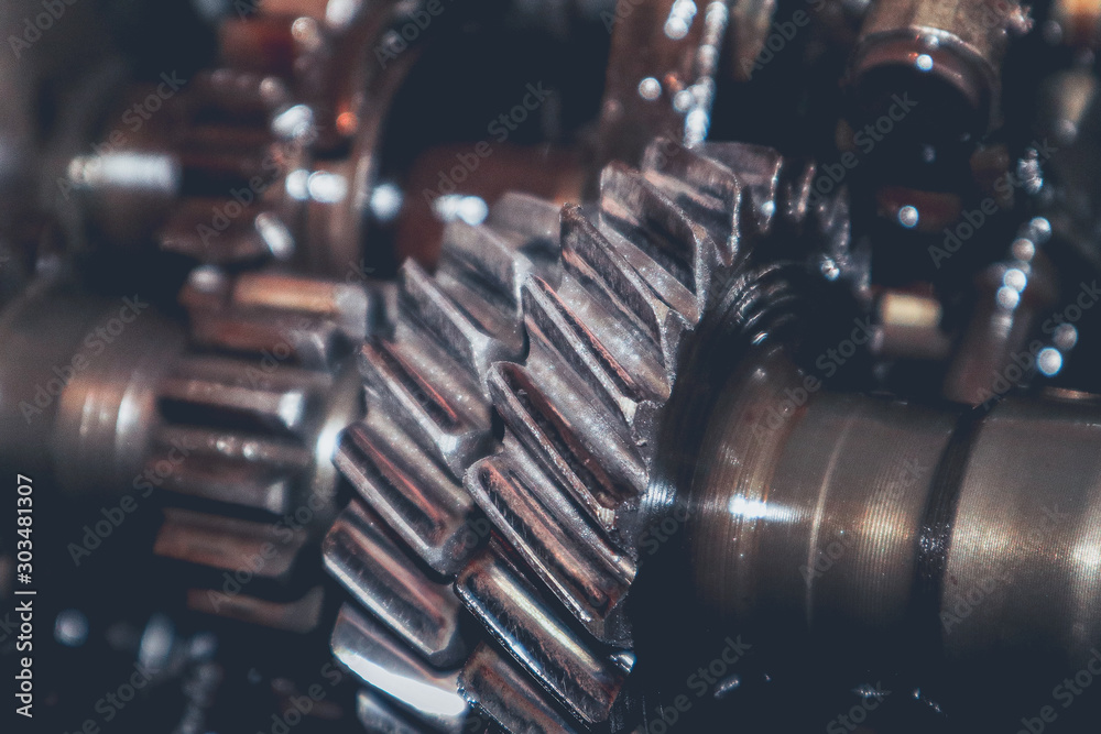 Fototapety, obrazy: Interior of a worn and used car gearbox.