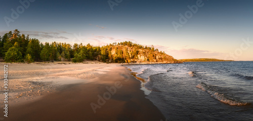 Fototapeta Waves hit sandy beach. Coastal conifer forest at the background