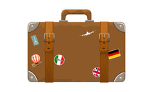 Old Style Vintage Brown Voyage Suitcase With Travel Stickers Hand Drawn Cartoon Style. Vector Illustration.