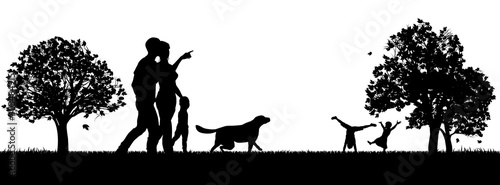People enjoying the outdoors park silhouettes with mother and father and small c Canvas Print