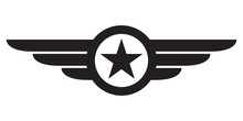 Star With Wings Logo. Military And Army Winged Badge. Aviation Emblem. Vector Illustration.