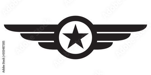 Fototapeta Star with wings logo