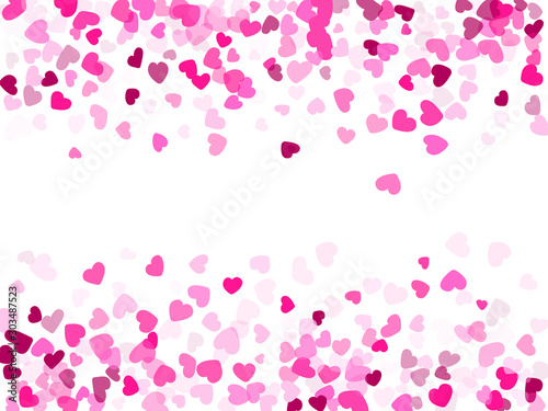 Fotomural  Hearts confetti flying vector background graphic design.