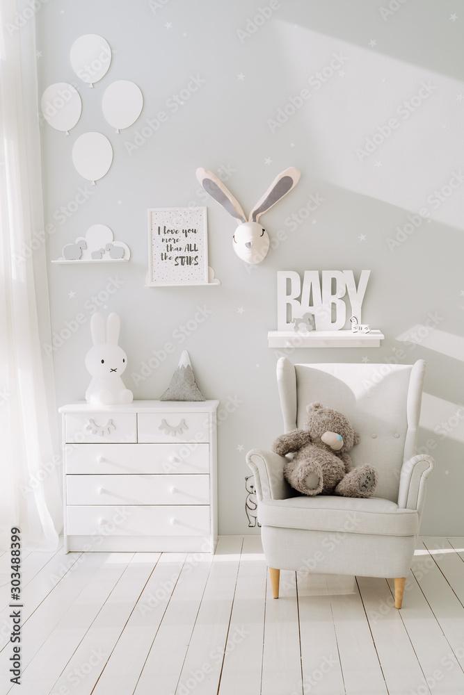 Fototapety, obrazy: Teddy Bear On Armchair Baby Room Interior Design
