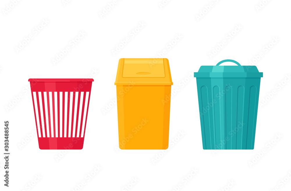Fototapeta Garbage can. Trash bin. Vector. Plastic, metal dustbin icon. Flat design. Rubbish pail isolated on white background. Cartoon illustration.