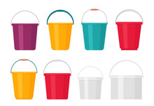 Bucket. Vector. Plastic Pail Flat Icon. Container Isolated On White Background. Set Empty Baskets For Water, Milk, Glue, Gardening. Cartoon Illustration. Handle Pack.