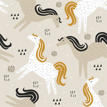 Horses, Hand Drawn Backdrop. Colorful Seamless Pattern With Animals. Decorative Cute Wallpaper, Good For Printing. Overlapping Background Vector. Design Illustration