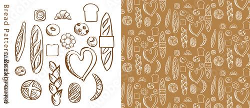 Fotomural 手描きのパンのパターン