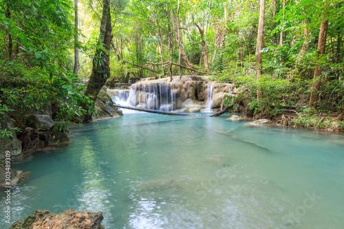 Fototapety, obrazy: Waterfalls In Deep Forest at Erawan Waterfall in National Park Kanchanaburi Thailand