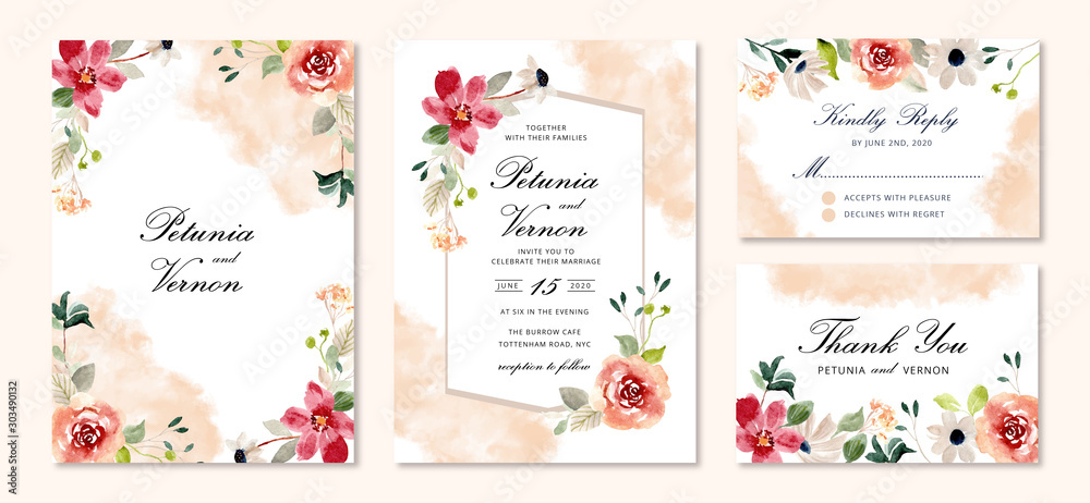 Fototapeta wedding invitation set flower watercolor background