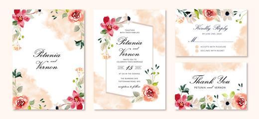 wedding invitation set flower watercolor background