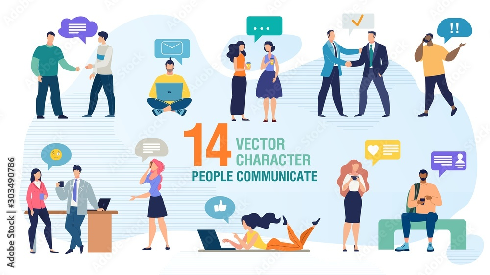 Fototapety, obrazy: Communicating Personally and Using Gadgets People Trendy Flat Vector Characters Set. Man and Woman Talking Face to Face, Calling Friends, Messaging Online with Cellphone and Computer Illustration