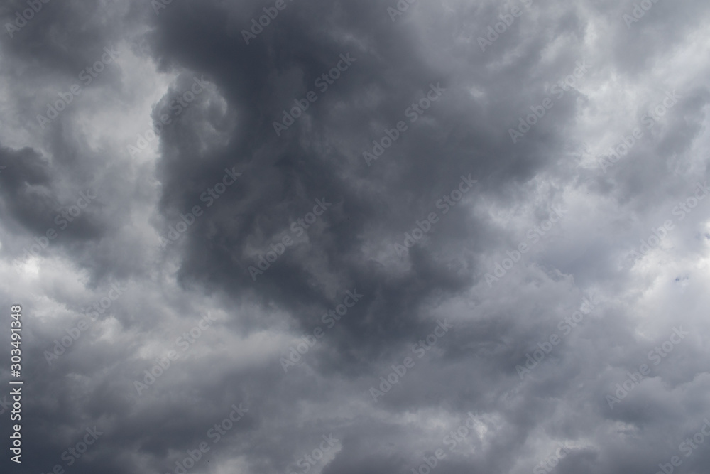 Fototapeta Grey threatening thunder storm clouds image for background use image with copy space