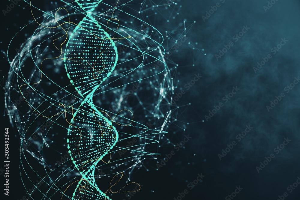 Fototapeta Abstract green DNA