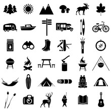A Large Set Of Campsites Silho...