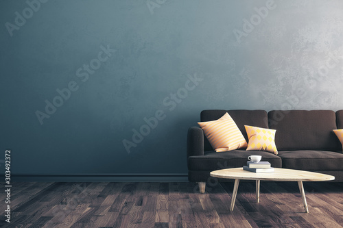 Obraz Modern concrete living room - fototapety do salonu