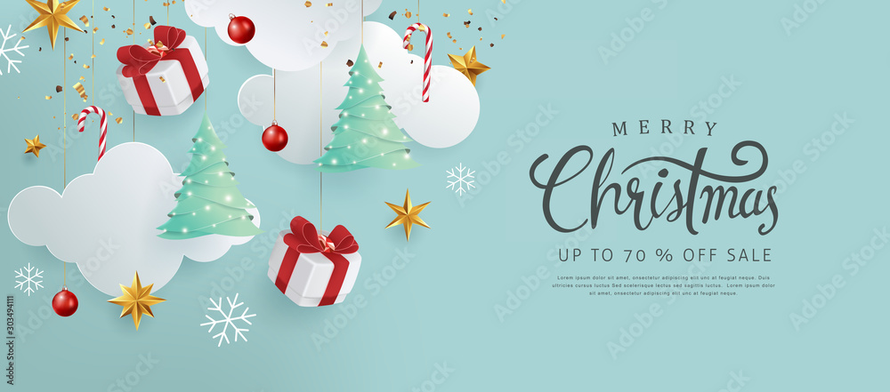Fototapeta Merry christmas and happy new year banner background with Xmas festive decoration.Happy New Year poster, greeting card, header, website.Merry Christmas text Calligraphic Lettering Vector illustration.