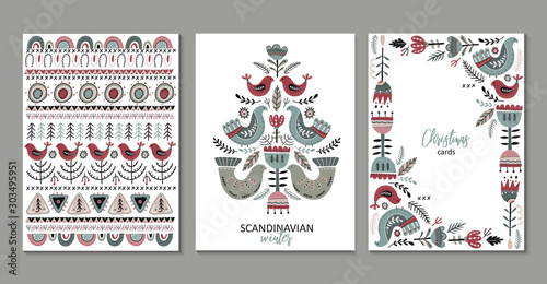 Vector set of greeting cards, posters in scandinavian style.