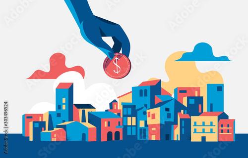 Fotomural Concept of investing in urban development. Vector illustration