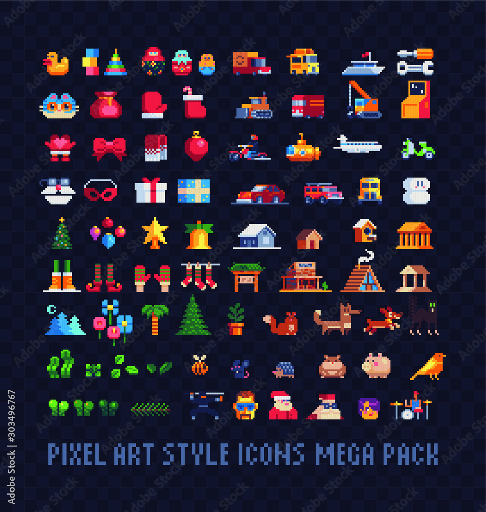 Fototapeta Pixel art icons big set, Xmas symbols, building, transport, plants and animals. Design for stickers, logo, web and mobile app. Isolated vector illustration. 8-bit sprite.