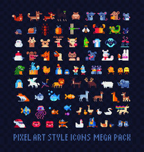 Animals Pixel Art Icons Mega Big Set, Mice, Dogs, Chickens, Cats, Fish, Farm Animals, Birds And Lizards. Design For Stickers, Logo, Mosaic, Web And Mobile App. Isolated Vector Illustration. 8-bit.