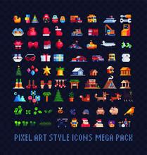 Pixel Art Icons Big Set, Xmas ...