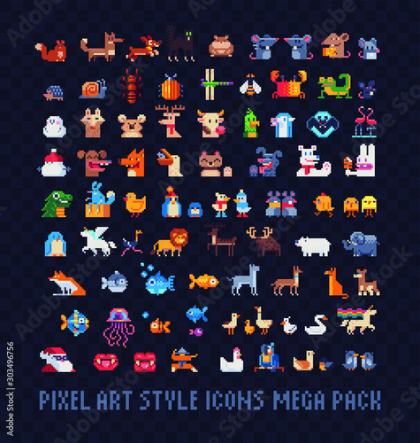 Animals pixel art icons mega big set, mice, dogs, chickens, cats, fish, farm animals, birds and lizards. Design for stickers, logo, mosaic, web and mobile app. Isolated vector illustration. 8-bit. Wall mural