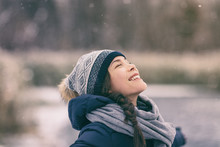 Winter Woman Happy Enjoying Sn...