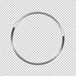 Silver ring isolated on transparent background. Vector chrome frame.