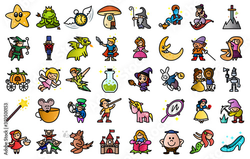Cartoon illustration of Colored cute 40 Fairy tail icons set Canvas Print