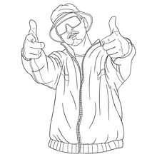 Cool Hip Hopper Points With Both Fingers Forward. Outline Illustration, Vector Drawing, Upper Body.
