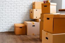 Close Up Of Moving Carton Boxe...