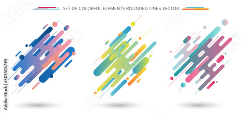 Fotografia Set of colorful rounded lines shapes in diagonal rhythm dynamic composition on white background