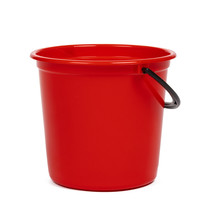 Empty Red Plastic Household Bucket On A White Background