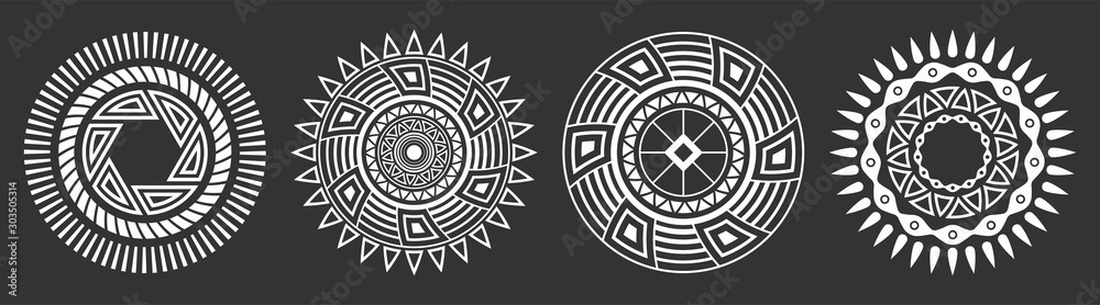 Fototapeta Set of four abstract circular ornaments. Decorative patterns isolated on black background.