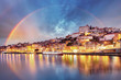 canvas print picture - Porto city at sunset, Portugal