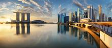 Singapore Skyline Panorama At Sunrise - Marina Bay With Skyscrapers