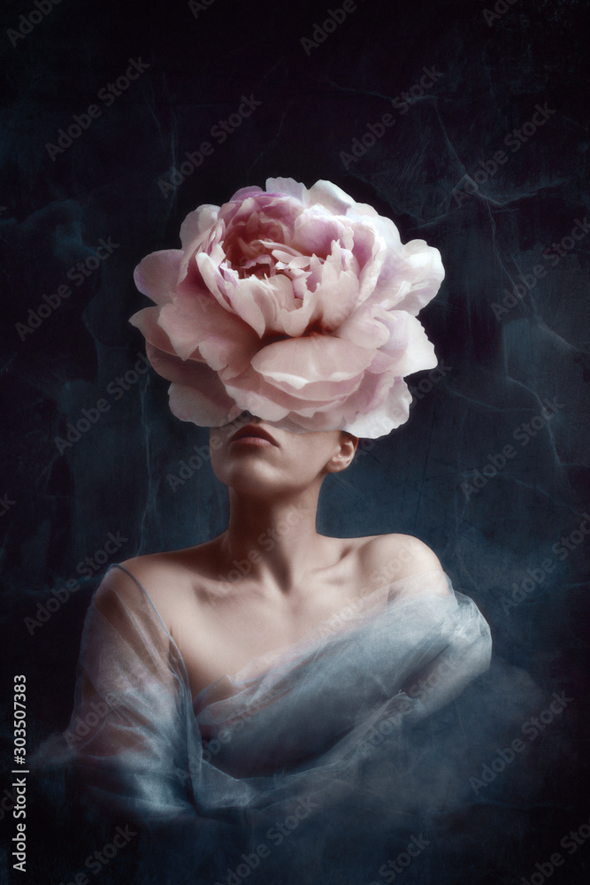 Fototapeta Strange fine art concept. The body of a woman, her head is a peony