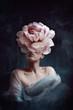 Leinwandbild Motiv Strange fine art concept. The body of a woman, her head is a peony