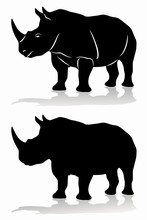 Isolated Silhouette Of Rhino ,...