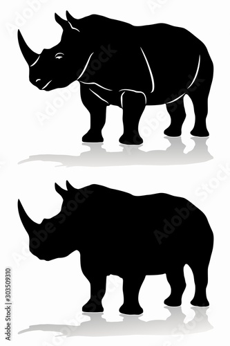 Vászonkép isolated silhouette of rhino , vector drawing