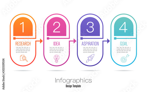 Infographics design vector and business icons with 4 options Wallpaper Mural