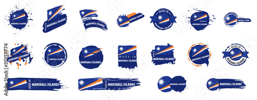 Photo Vector set of flags of Marshall Islands on a white background